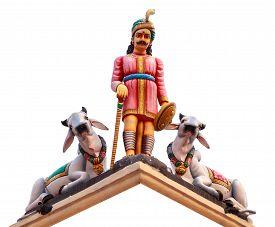 stock photo of hindu  - Hindu God Statues At A Hindu Temple in isolated - JPG