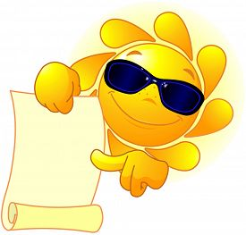 picture of scroll  - Sun with sunglasses holds scroll - JPG