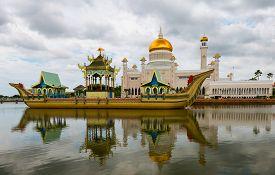 stock photo of barge  - Masjid Sultan Omar Ali Saifuddin Mosque and royal barge in BSB Brunei - JPG
