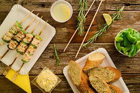 picture of souvlaki  - Concept of barbecue picnic food - JPG