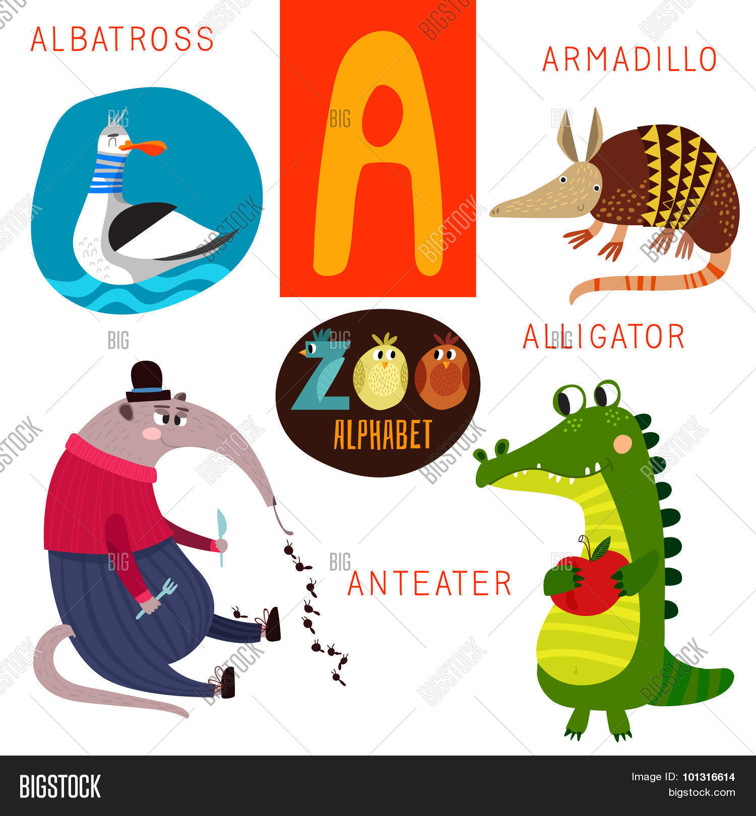 3 letter animals zoo alphabet vector letter vector amp photo bigstock 25786