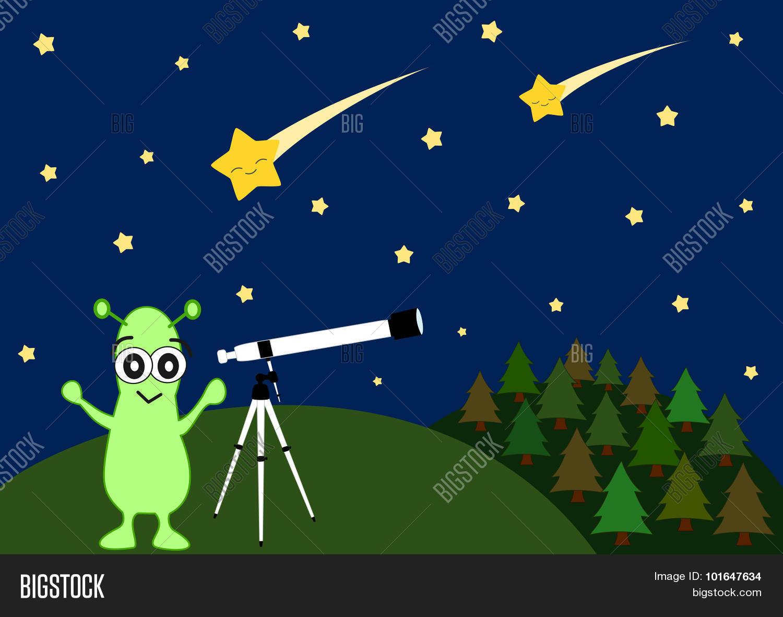 cute cartoon alien watching vector u0026 photo bigstock