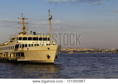 Passenger Ship Parked On Karakoy Pier Golden Hour Times Near Golden Horn