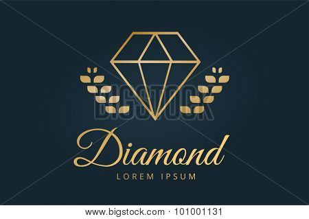 Vintage old diamond logo. Diamond icon template. Vintage retro style diamond.  Jewelry labels, ribbons, decor, ornament. Premium quality diamond vector. Diamond logo design. Retro style