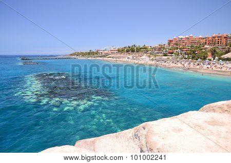 Gorgeous azure sandy Playa del Duque in Costa Adeje on Tenerife, Spain