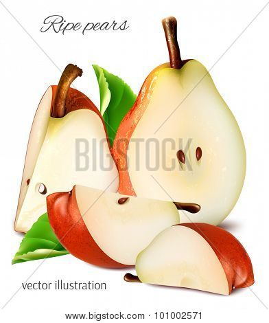 Ripe red pears with leaves and slices. Vector illustration.