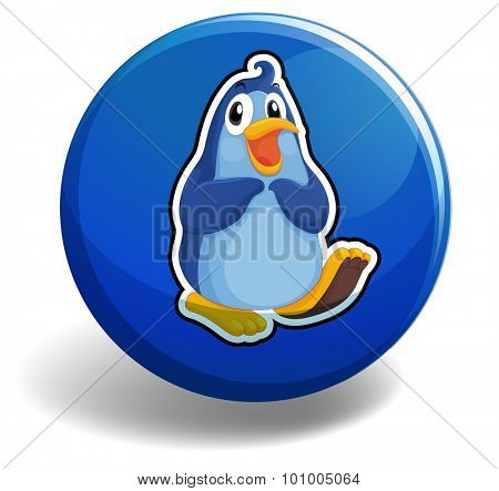 Blue penguin on round badge illustration