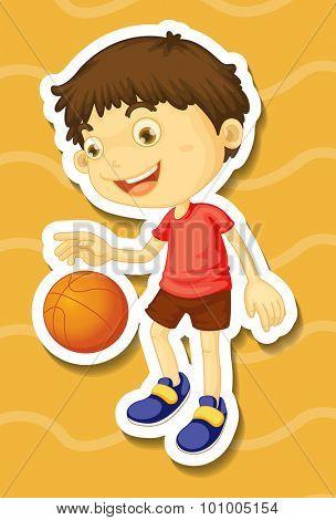Little boy playing basketball illustration