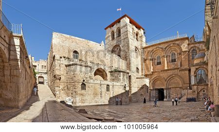 JERUSALEM, ISRAEL - JULY 26, 2015: Panorama of the Church of the Holy Sepulchre  - church in Christian Quarter of the Old City of Jerusalem where Jesus was crucified, buried and resurrected.