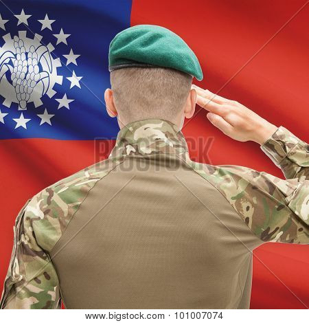 National Military Forces With Flag On Background Conceptual Series - Burma