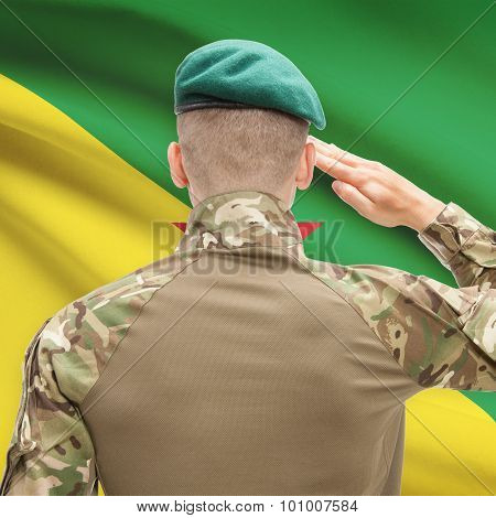 National Military Forces With Flag On Background Conceptual Series - French Guiana
