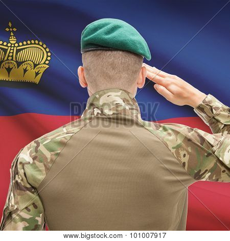 National Military Forces With Flag On Background Conceptual Series - Liechtenstein