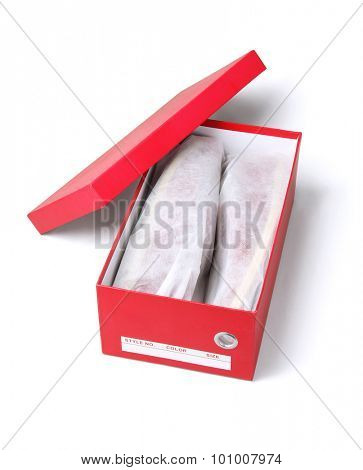 Open Box With Shoes in Protective Bags on White Background