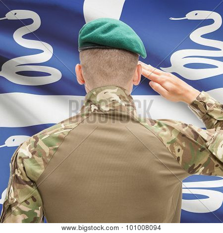 National Military Forces With Flag On Background Conceptual Series - Martinique