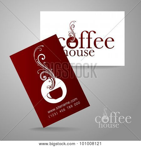 Coffee logo. Corporate identity design for coffee house, coffee shop, bar, etc. Template design business card.