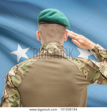 National Military Forces With Flag On Background Conceptual Series - Micronesia