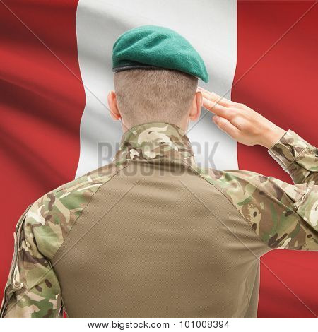National Military Forces With Flag On Background Conceptual Series - Peru