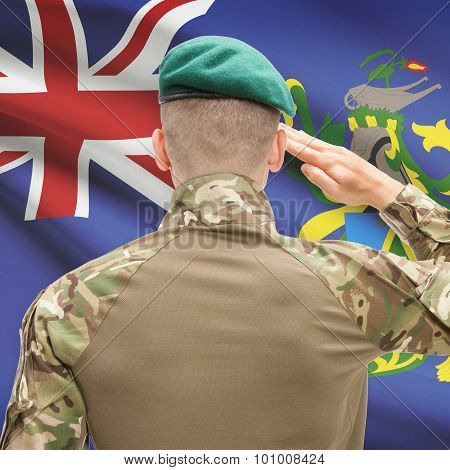 National Military Forces With Flag On Background Conceptual Series - Pitcairn Island