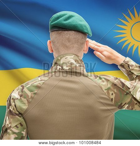 National Military Forces With Flag On Background Conceptual Series - Rwanda