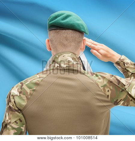 National Military Forces With Flag On Background Conceptual Series - Saint Lucia