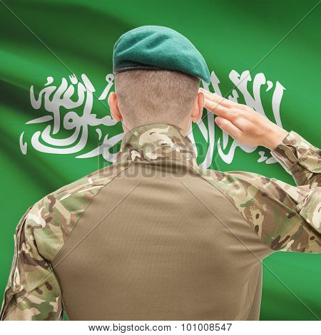 National Military Forces With Flag On Background Conceptual Series - Saudi Arabia