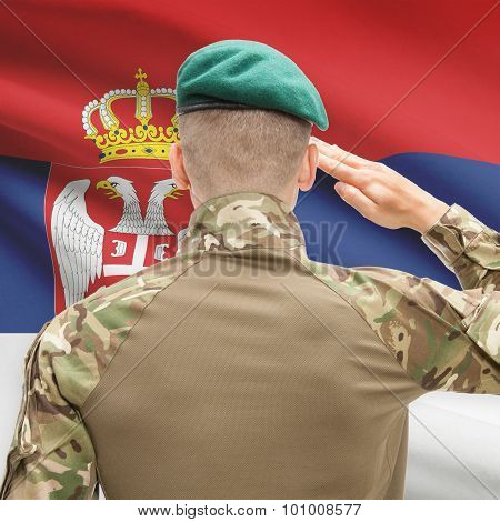 National Military Forces With Flag On Background Conceptual Series - Serbia