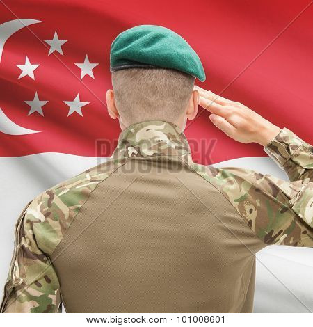 National Military Forces With Flag On Background Conceptual Series - Singapore