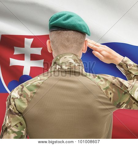 National Military Forces With Flag On Background Conceptual Series - Slovakia