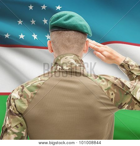 National Military Forces With Flag On Background Conceptual Series - Uzbekistan