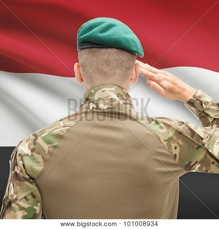 National Military Forces With Flag On Background Conceptual Series - Yemen