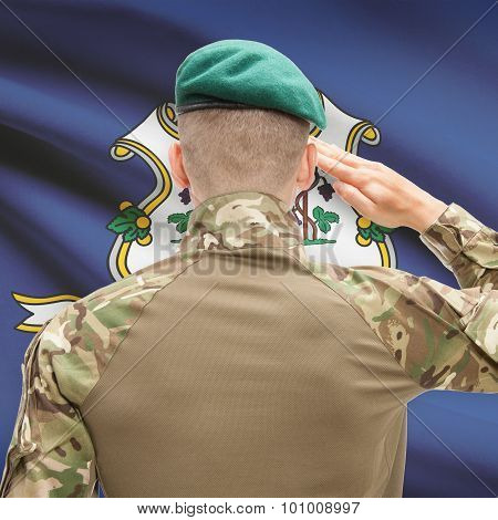 Soldier Saluting To Usa State Flag Conceptual Series - Connecticut