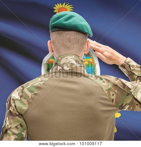 Soldier Saluting To Usa State Flag Conceptual Series - Kansas