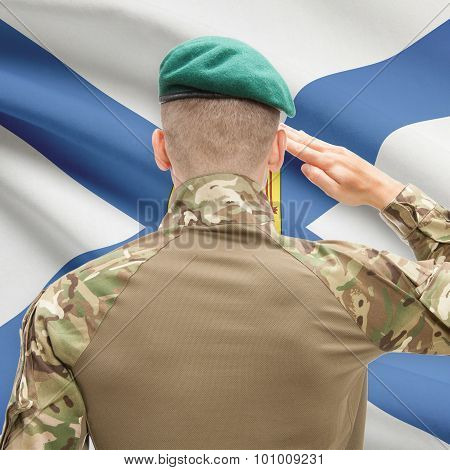 Soldier Saluting To Canadial Province Flag Conceptual Series - Nova Scotia