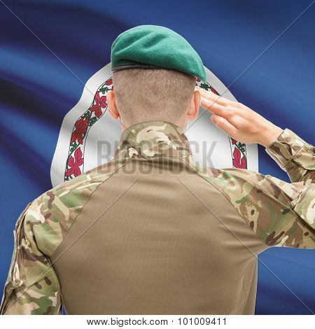 Soldier Saluting To Usa State Flag Conceptual Series - Virginia