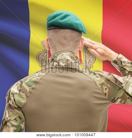National Military Forces With Flag On Background Conceptual Series - Andorra