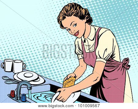 Woman washing dishes housewife housework comfort