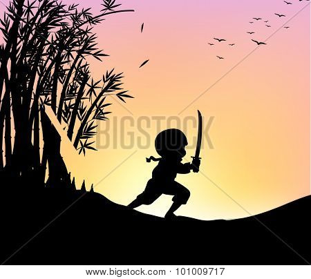 Silhouette ninja cutting bamboo with sword illustration