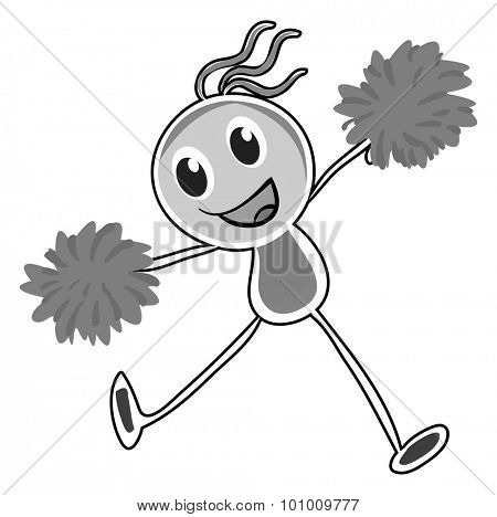 Little girl cheering with pom pom illustration