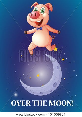 Idiom over the moon illustration