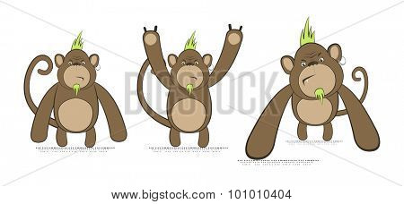 Vector set of monkeys in punk style, with green Mohawk and piercing
