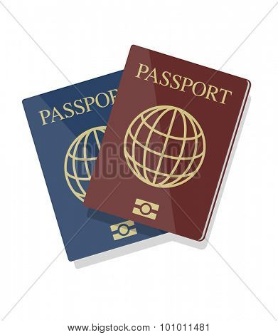 Vector blue and red biometric passports with globe, eps10, isolated on white background