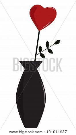 Heart Flower In A Vase