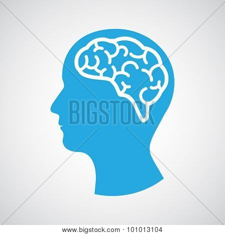 Head with brain. Vector illustration