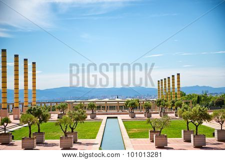 BARCELONA, SPAIN - MAY 02: Montjuic Olympic park in Barcelona. Barcelona held the 1992 Summer Olympic Games. Barcelona, Spain, May 02, 2015