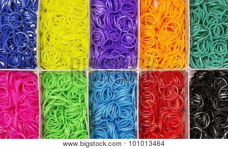 Colorful of elastic rainbow loom bands
