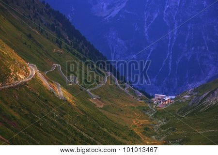 Amazing sunrice on the top of grossglockner pass, Alps, Switzerland, Europe.