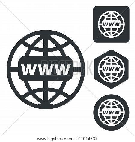 Global network icon set, monochrome