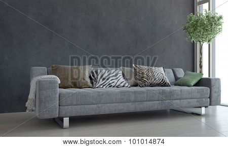 Contemporary Gray Sofa with Animal Print Cushions and Potted Plant Next to Bright Window in Modern Living Room. 3d Rendering