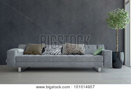 Contemporary Gray Sofa with Animal Print Cushions in Sparsely Decorated Living Room with Potted Plant. 3d Rendering