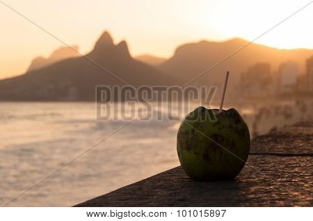Coconut Drink in Ipanema Beach by Sunset